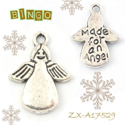 Antique Silver Zinc Alloy Jewelry Pendant Angel