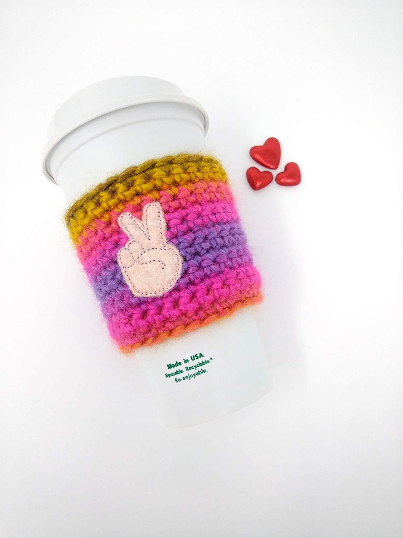 Hippie Peace Fingers Cup Cozy - ASL gift, peace cozy, crochet cozy, coffee cozy, cup band, coffee cup cozy, tea sleeve, cup cover, tea cozy