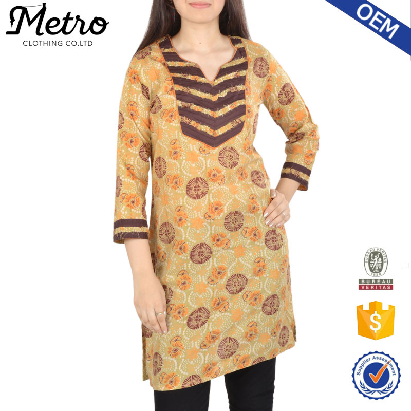 2016 Dress off-white cotton kurta handmade designs women