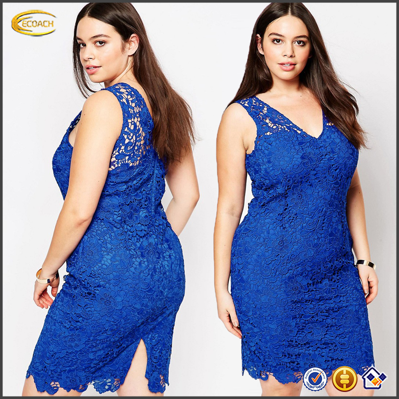 Ecoach 2016 Dongguan Factory Sleeveless V-neck Plus Size Blue Lace Dress Women Apparel
