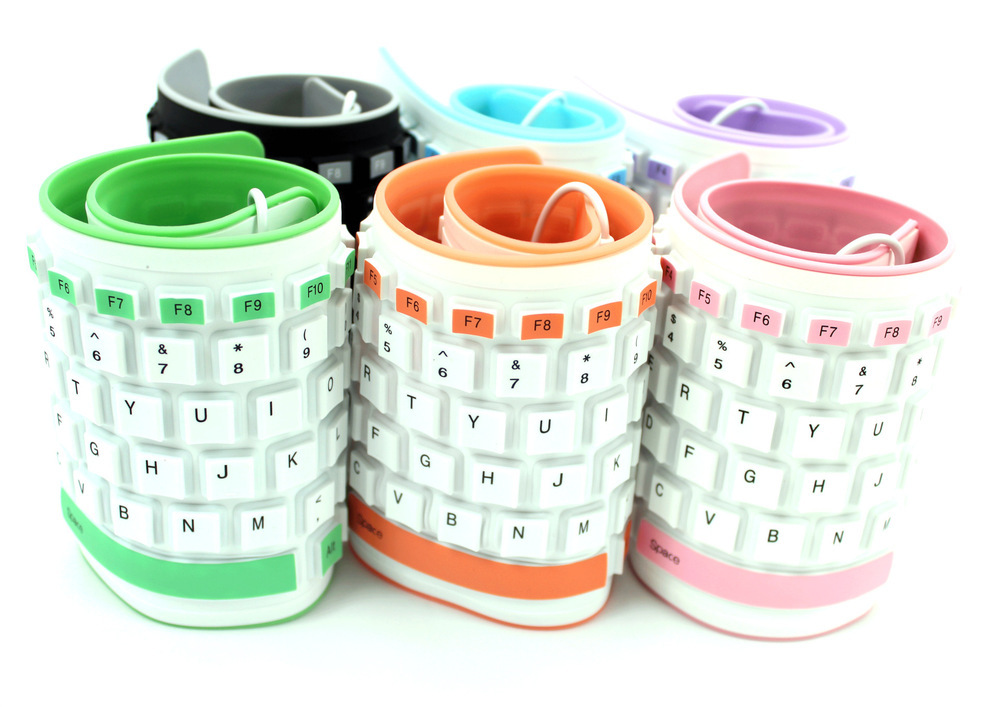 Wired USB Spillproof Roll Up Portable Folding Pocket Silicone Keyboard