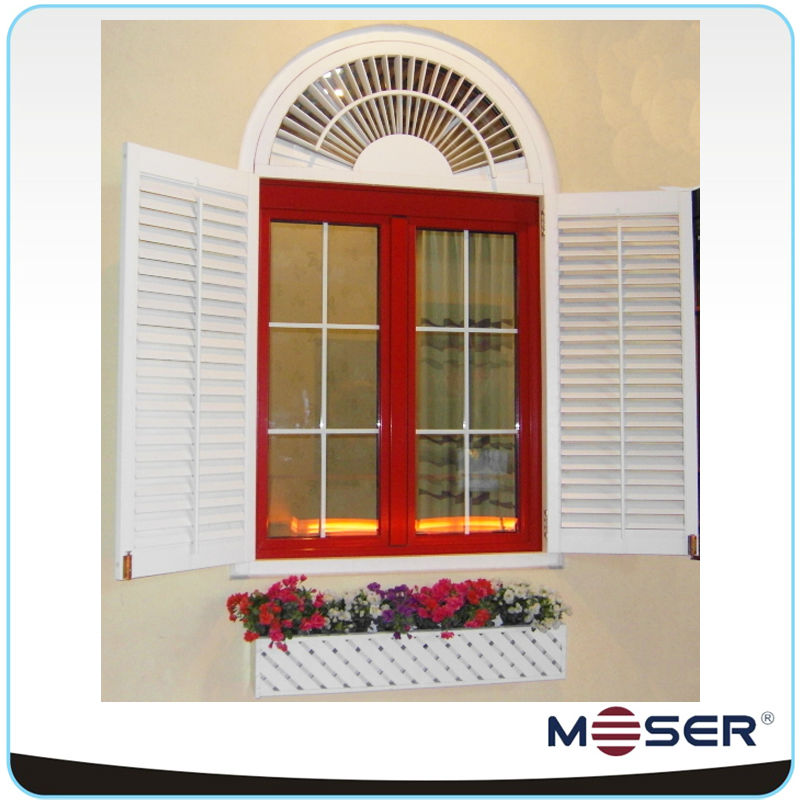 Moser arched wood blinds inward opening double glazed window
