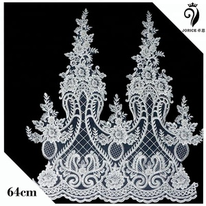 2018 OEM factory price wide lace edging beaded corded bridal embroidery lace trim for dress