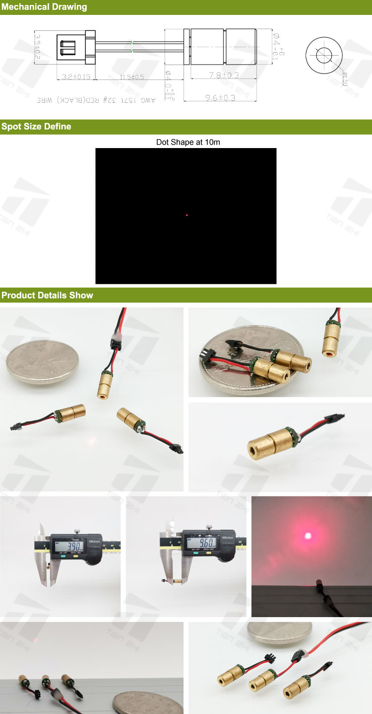 Mini D4X9.6mm Laser Diode 650mw 1mW 5mW Red Dot Laser Module