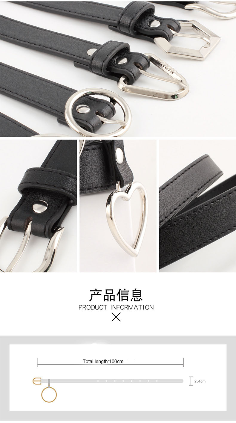 Fashion PU Women studded cool belts with round buckle