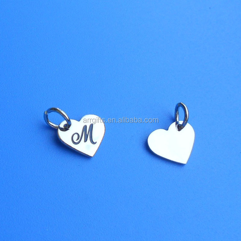 custom heart made metal logo charm, stamped design jewelry tag pendant