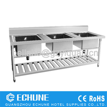 Restaurant Kitchen Sink Stainless Steel Dish Washing Work Table With ...
