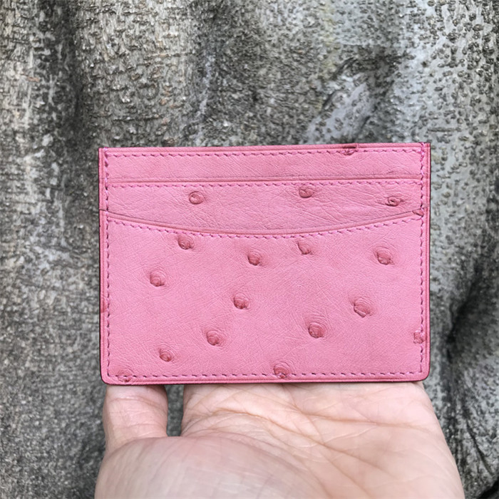 Custom fashion exotic genuine ostrich leather credit card holder wallet