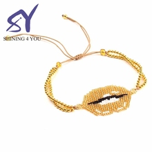 The Hot Gold Rope Sexy Lip Pattern Beads Handmade Seed Bead Fashion Women Bracelet