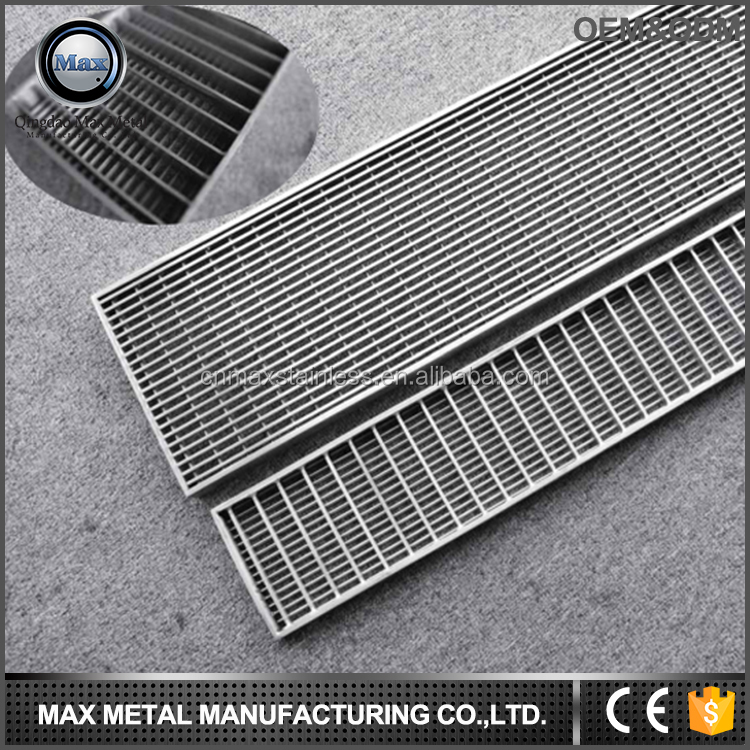 Heavy-Duty floor drain grate Polished Stainless,Shower Drain Strainer sewer drain covers with Removable Cover linear