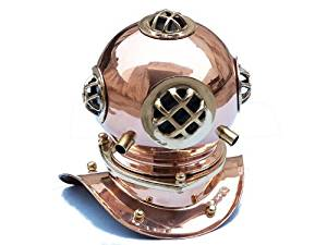 """Copper Divers Helmet 9"""" - Diving Helmets Brass & Antique - Nautical Decorative Gift Solid Brass Home Nautical Decor - Executive Promotional Gift"""