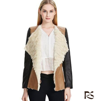 Patchwork Lapel Collar Women's heated pakistan leather Jacket