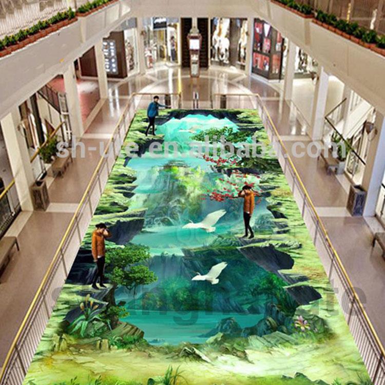 Impermeable Lotus estampado peces 3D Etiqueta de piso suelo pegatinas extraíbles