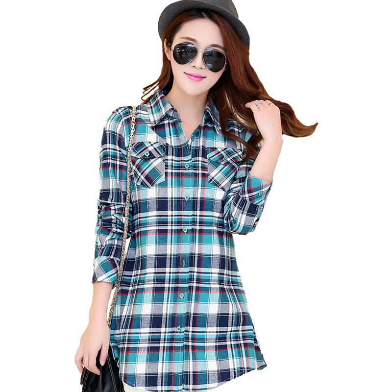 313298df16a Get Quotations · Top Quality 100% Cotton Long Sleeve Plaid Shirt Women  Fashion Casual Long Flannel Shirt Blouses