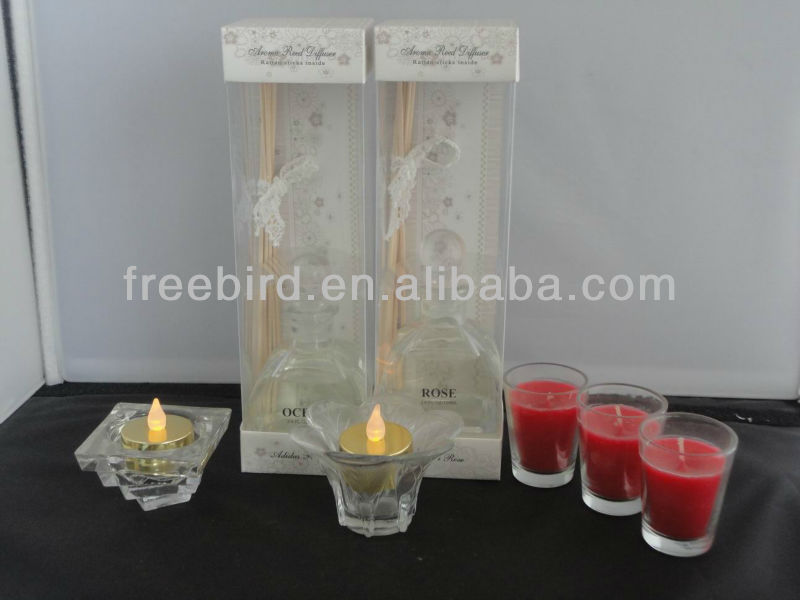 Ocean & Rose Aroma Reed Diffuser + Glass Candle Holder + Votive Candle