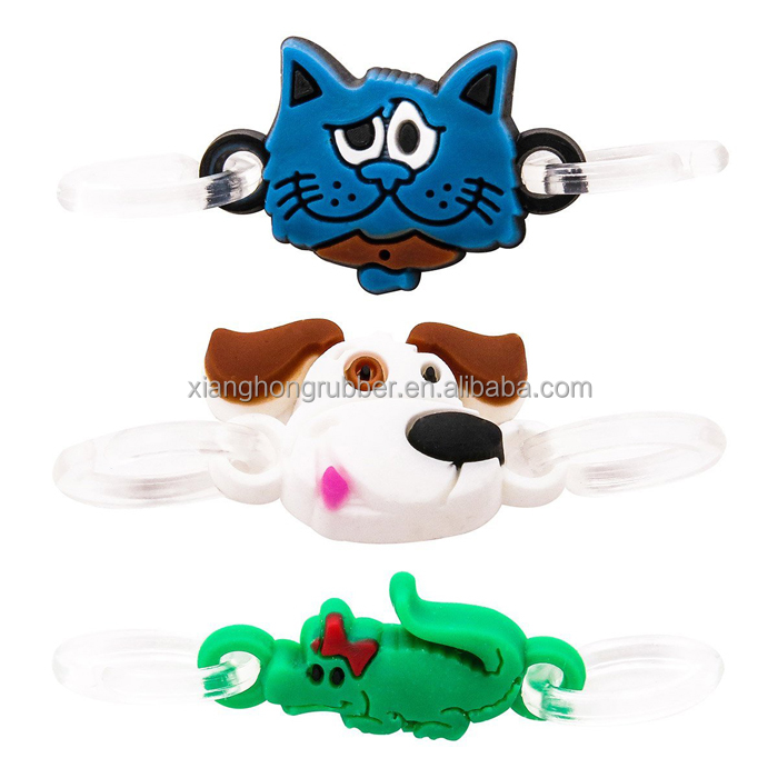 Cat, Dog and Alligator Charm Pendant Cute Silicone Double Loop Dangle Charms