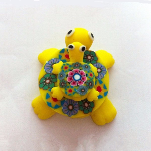 Cute Refrigerator Polymer Fimo Clay Turtle with Baby Turtle Magnets