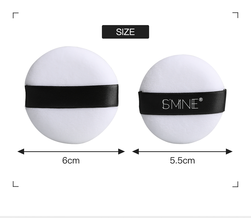 White Pure Cotton No Logo Cosmetic Powder Puff with Black Lace