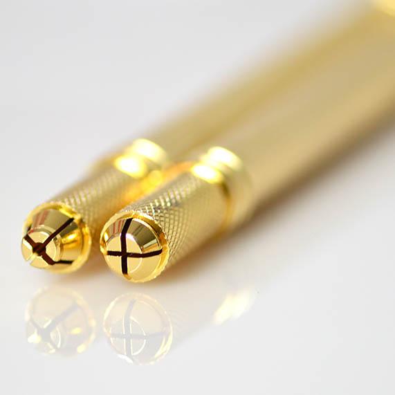 OEM Lovbeauty Ouro Duas cabeças Microblading ferramenta De Sobrancelha Permanente Maquiagem Caneta Tatuagem Manual Do 3D