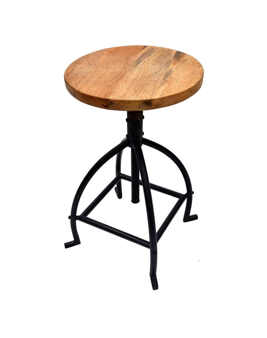 Reasonable Industrial Vintage Antique Bar Stool Height 66.5cm Round Seat Wooden Loft Style Furniture Counter Bar Stool 3 Leg Solid Wood Bar Stools Furniture