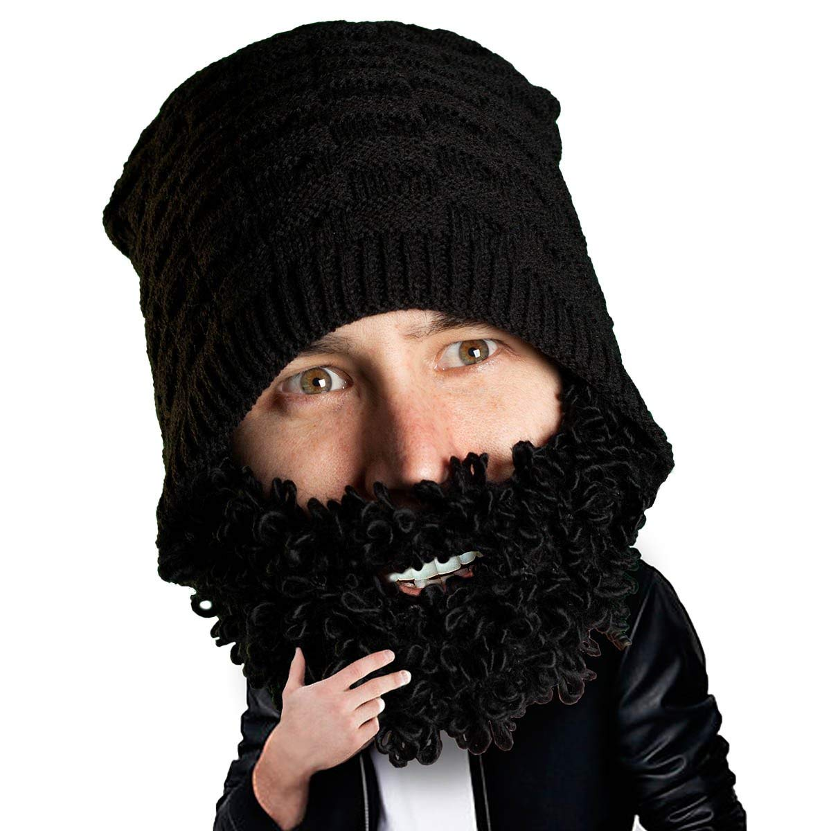5ce976047ed Get Quotations · Beard Head - The Original Curly Atticus Knit Beard Beanie
