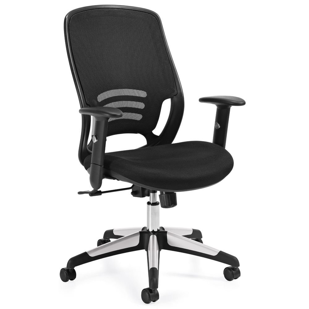 """Atwater Mesh Back Mesh Fabric Seat Task Chair with Adjustable Arms Dimensions: 25.5""""W x 24.5""""D x 36.5""""H Seat Dimensions: 20""""Wx19""""Dx16-20""""H Weight: 47 lbs. Black Mesh Back/Titanium Finish Base"""