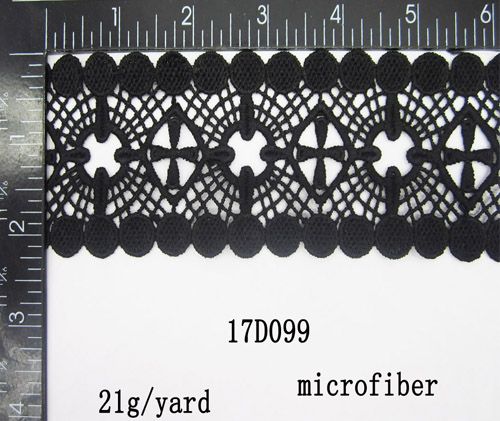 Good Quality And Hot Selling Black Embroidered Chemical Lace Trims for Garment 2 1/4 inch Width