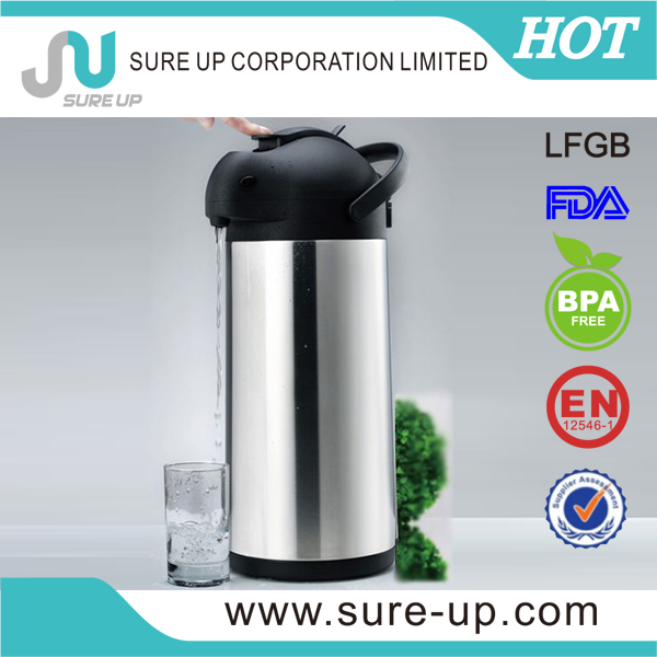 Portable 1.9l thermos airpot stainless steel coffee carafe lever tea pot (ASUG)