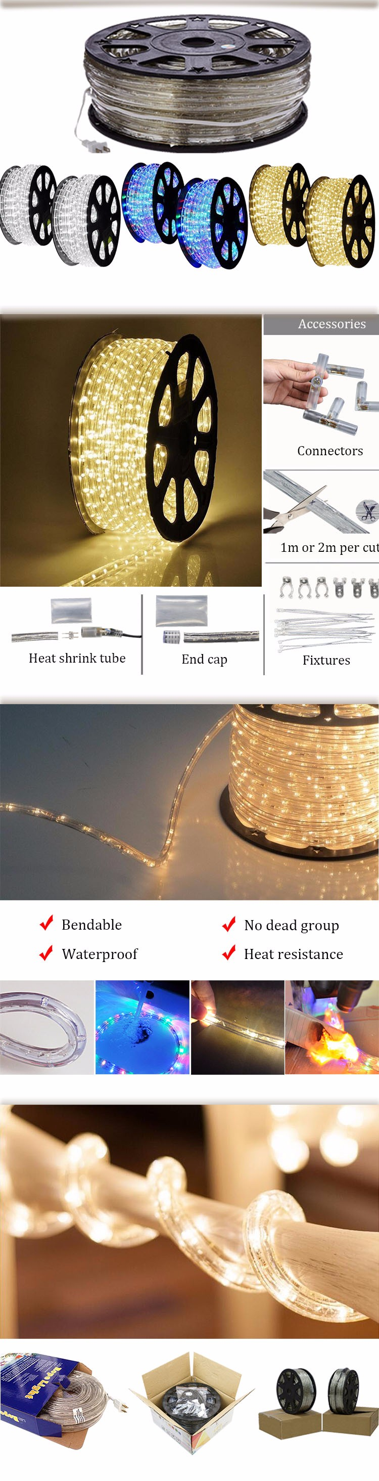 white color LED rope light