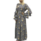 New Arrival Modest Maxi Dress Ruffle Sleeve floral Printing Thick Crepe Women World Dubai Fashion Kaftan