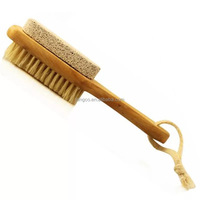 Natural Two-side Wooden Body Bristle Brush Massager Bath Shower Spa Scrubber