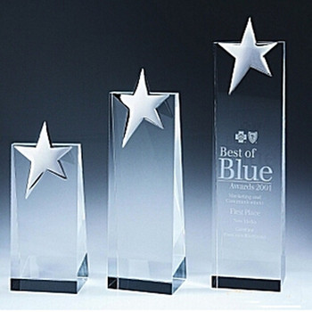 New Design K9 Superior Quality Sport Prize Blank Color Glass Cube Star Trophy