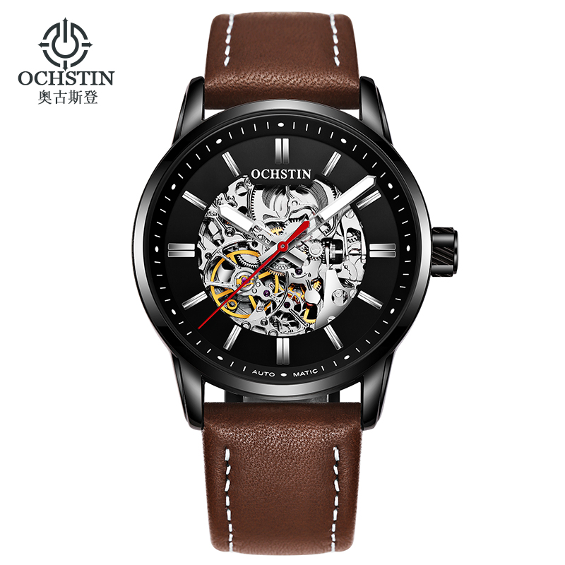 OCHSTIN 62001B Mens Automatic Watches Analog Brand Leather Mechanical Watch For Men фото