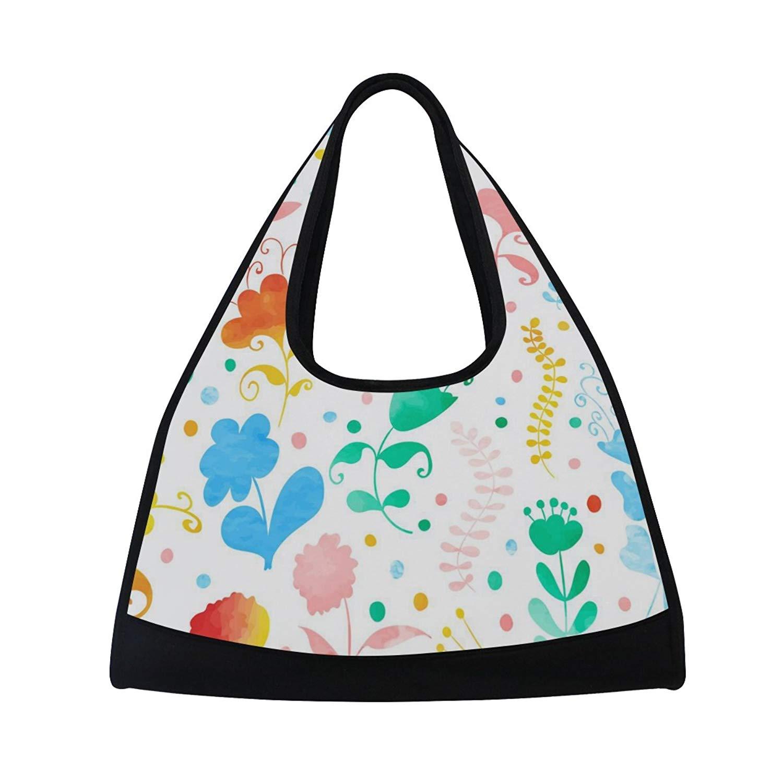 Sport Gym Bag Watercolor Colorful Leaf Flower Canvas Travel Duffel Bag