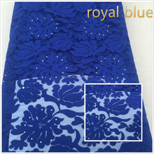 good selling wholesale african french double mesh lace / crystal beaded tulle fabric for wedding dresses