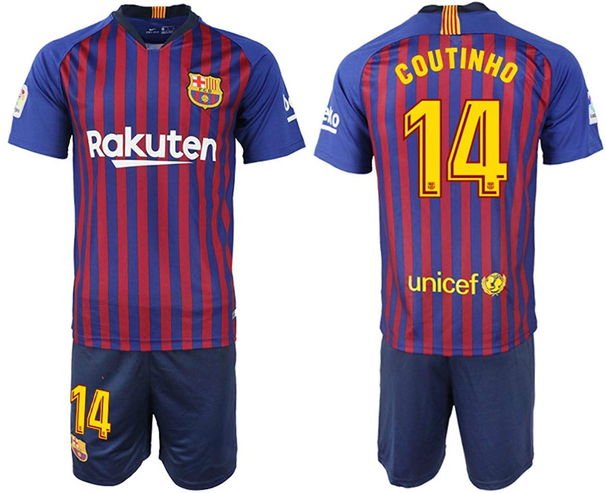 674daeab8d1 Get Quotations · 2018-2019 Coutinho  14 Season Barcelona Home Soccer Jersey  Mens Color Blue