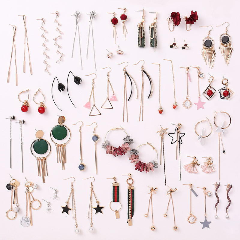 Lady earring fashion crystal mixed earring jewellery cheap free sample free shipping earring stock tassel macrame random earring фото