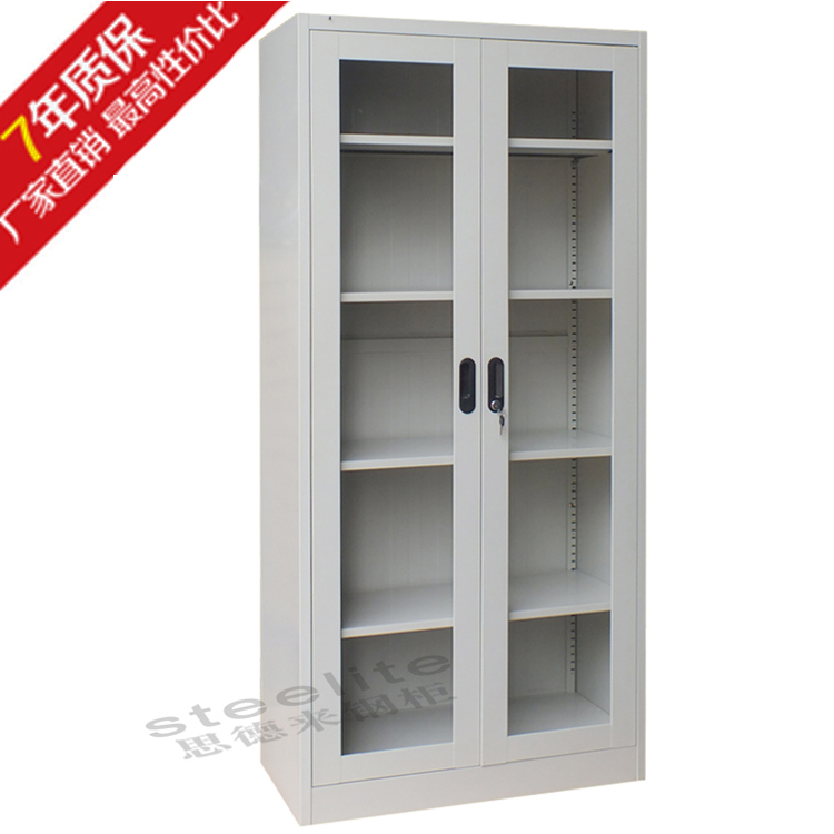 lockable metal office filling cabinet with glass/steel storage cabinet with glass door