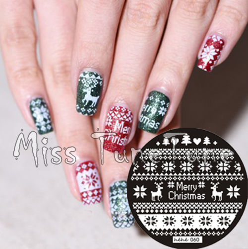 New Stamping Plate hehe60 Xmas Festival Nordic Reindeer Nail Art Stamp Template Image Transfer Stamp Plate