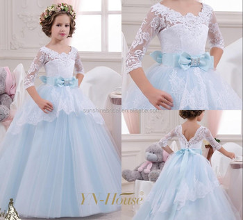 2260e439bba 2016 Lovely Baby Princess Flower Girl Dresses Long Sleeves Lace Appliques  Wedding Prom Ball Gowns Toddler