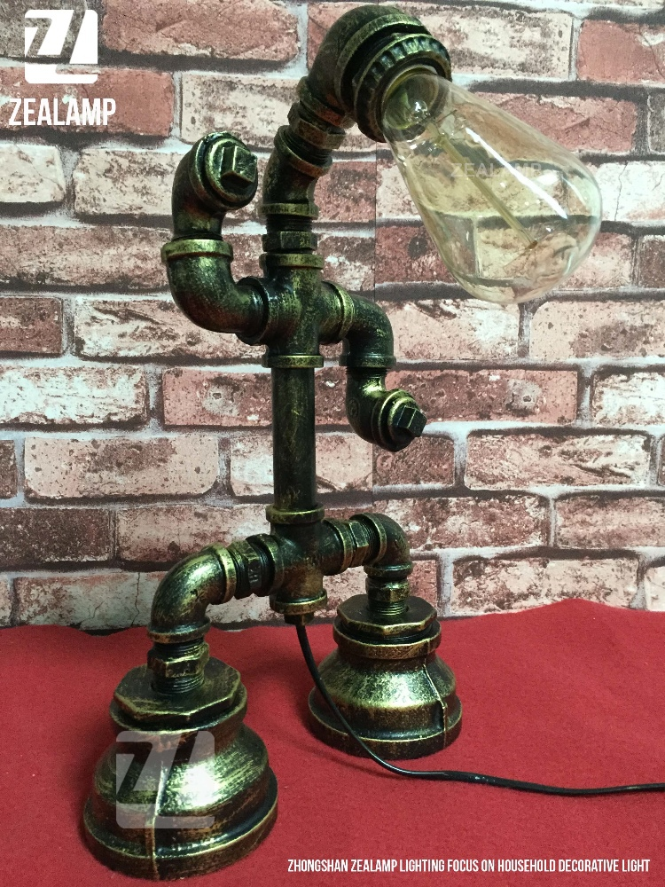 industriellen stil rohr leuchtet steampunk rohr tischlampe. Black Bedroom Furniture Sets. Home Design Ideas