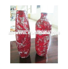 Red Golden Rose Large Crackle Glass Noble Vase Wedding Center Pieces