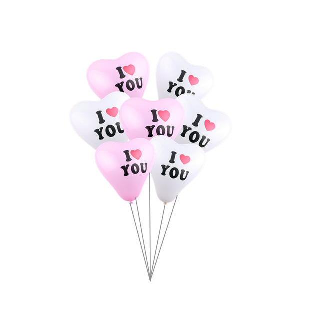 New monochrome print I love you heart shaped latex balloon wedding dresses gift engagement balloon for party decoration