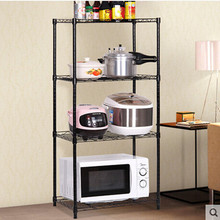 PN Factory Microwave storage rack 4-tier Stand Shelf Side Organizer folding portable movable metal shelf