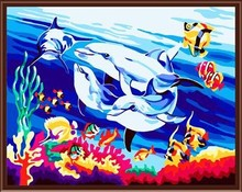 DIY oil painting by numbers for bedroom seascape dolphin picture wholesale hot photos GX6072