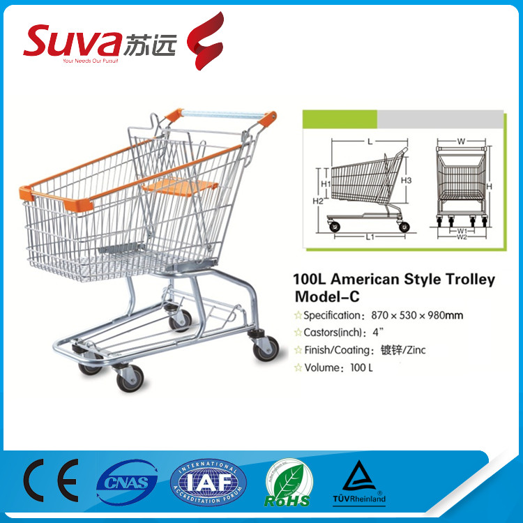 American style personal shopping cart coin operated lock supermarket trolley