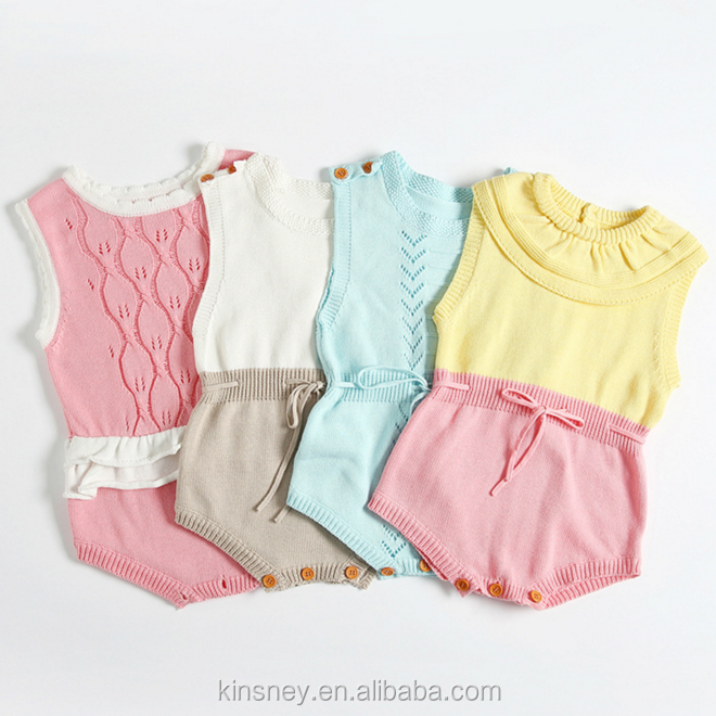KS10571A Nice colors combine design baby girls romper new baby's knitted wear