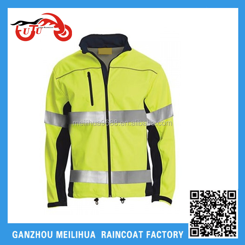 Cheap price Hi-Visibility Green Reversible Safety 300D Polyester Rain Jacket