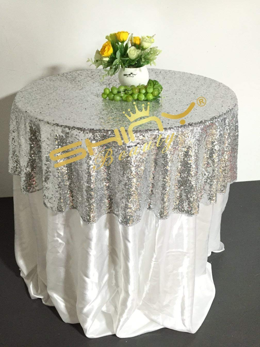 incredible Cheap Lace Overlays Part - 10: Get Quotations · ShinyBeauty 30-Inch Round Silver Sequin Tablecloth For  Wedding Party Sequin Fabric Table Overlays