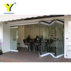 Office USED Interior Bifold Frameless Glass Door With Toughened Glass_Frameless Folding Glass Doors